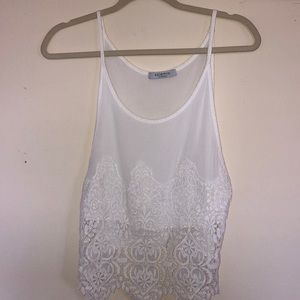 White Tank Top with low cut sides
